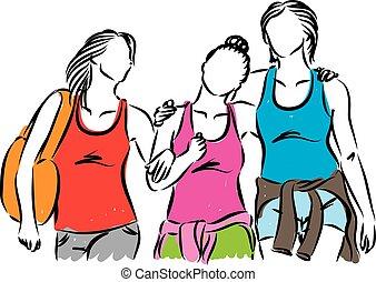dehors, femmes, groupe ensemble, pendre