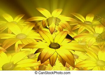 dehors, fleurs, papillon