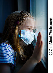 dehors., girl, prendre garde, protecteur, fenêtre, self-isolating., masque, peu