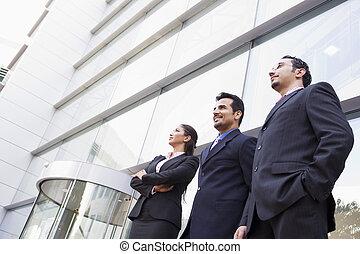 dehors, groupe, bureau, professionnels