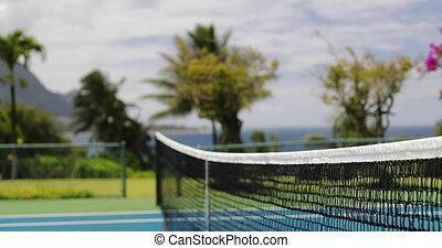 dehors, hardcourt, filet, tennis, closeup, tribunal, -