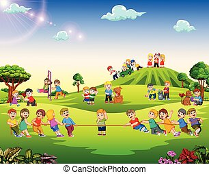 dehors, heureux, jouer, enfants