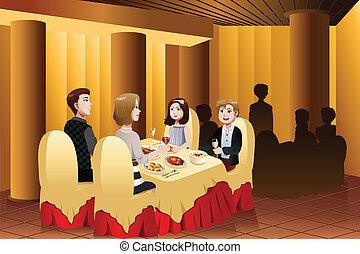 dehors, manger, famille, restaurant
