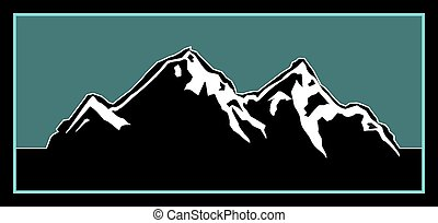 dehors, montagne, logo