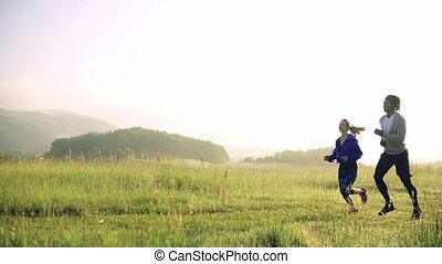 dehors, morning., couple, nature, jeune, pré, courant, ...