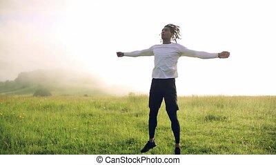 dehors, nature., pré, homme, course, exercice, jeune, mélangé