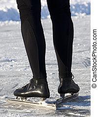 dehors, patinage, dans, teh, hiver