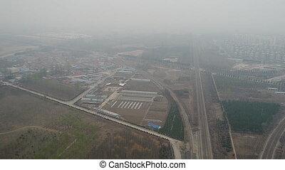 dehors, pendant, train, rural, pauvre, pollution, pistes, ...