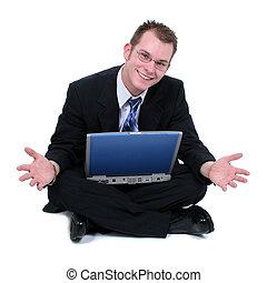 dehors, séance homme, ordinateur portable, plancher, mains affaires