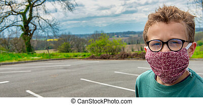 dehors, virus, anti, masque, enfant, porter