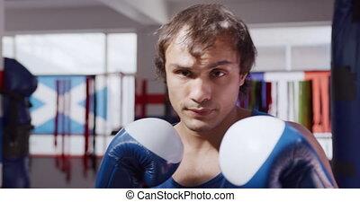 dehors, vue, gymnase, fonctionnement, boxe, caucasien, homme...