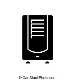 dehumidifier icon, vector illustration, black sign on...