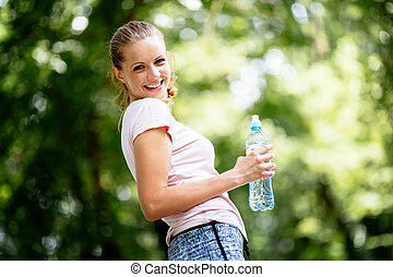 Dehydrated female jogger
