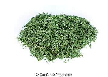 parsley - dehydrated parsley on white background