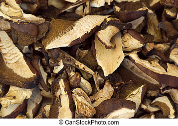 Dehydrated slices of mushrooms - Macro