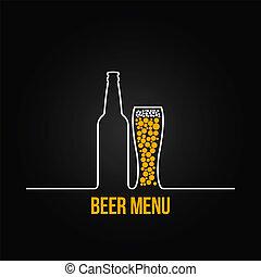 deign, vidro, garrafa cerveja, fundo