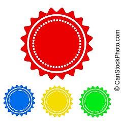 dein, bunte, abbildung, runder , vektor, ikone, abzeichen, design, bestand