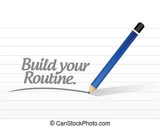 dein, design, bauen, abbildung, routine