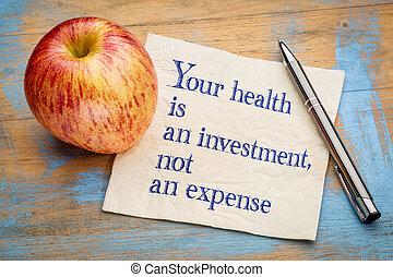 dein, gesundheit, gleichfalls, ein, investition
