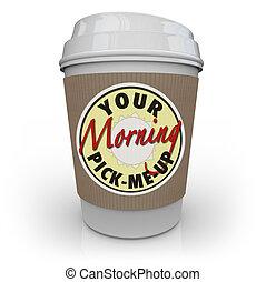 dein, morgen, tonabnehmer, tasse kaffee