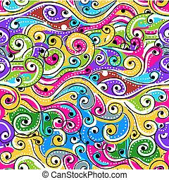 dein, muster, abstrakt, seamless, hand, hintergrund, gezeichnet, welle, design