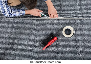 deitando, carpinteiro, tapete