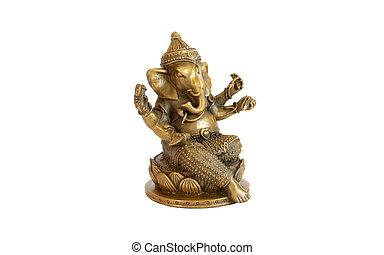 Deity of Ganesha from India on white background