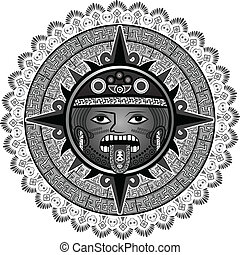 Deity of the sun of Indians of aztecs for a background in a vector