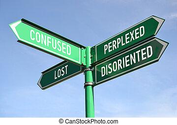 deixado perplexo, confundido, perdido, signpost, disoriented