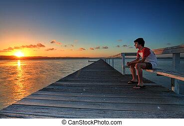 deixar vai, de, a, dias, tensões, assistindo pôr-do-sol