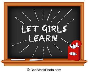 deixe, meninas escola, chalkboard, learn!