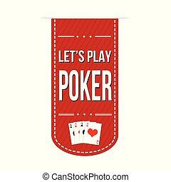 deixe-nos, bandeira, jogo, desenho, pôquer