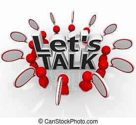 deixe-nos, conversa, pessoas, grupo, em, círculo, discuta,...
