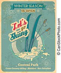 deixe-nos, ir, esquiando, retro, cartaz