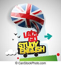 deixe-nos, ir, estudo, inglês, fundo