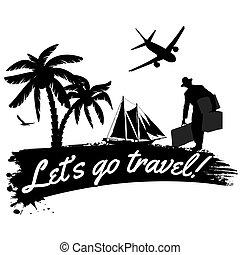 deixe-nos, ir, viagem, cartaz