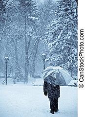 dejar, él, nieve