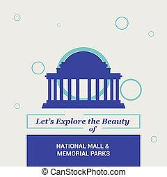 dejarnos, explorar, el, belleza, de, alameda nacional, y, monumento conmemorativo, parque, washington, cc, estados unidos de américa, nacional, señales