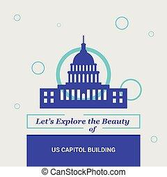 dejarnos, explorar, el, belleza, de, capitol de los e.e.u.u, edificio, washington, estados unidos, nacional, señales