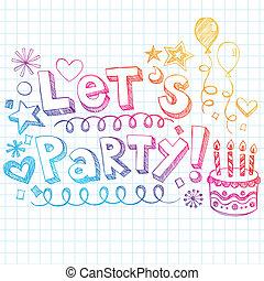 dejarnos, feliz, fiesta, cumpleaños, doodles