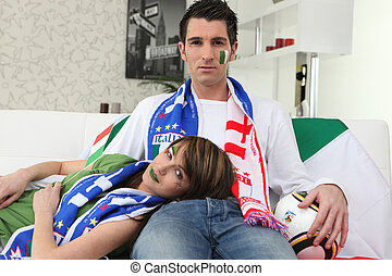 Dejected Italian football fans