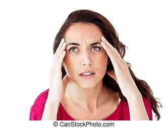 dejected, mulher hispânica, tendo, um, dor de cabeça