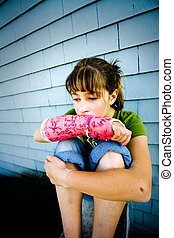 Dejected - Photo of Maggie in a pink cast.