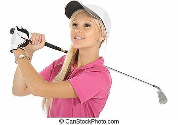 dejlige, lys, golf, kvinde