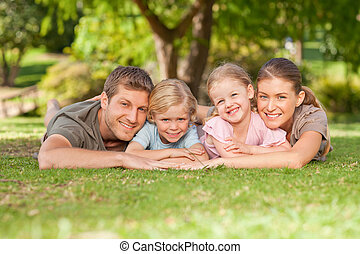 dejlige, park, familie