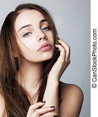 dejlige, ung kvinde, closeup, portræt, -, sundhed, begreb