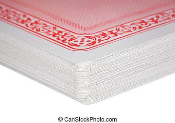 dek, fragment, precies, gecombineerd, kaarten, spelend
