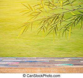 dek, houten, product, materiaal, akker, bladeren, montage., achtergrond., hout, groen tafel, bamboe, display, lege