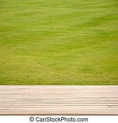dek, houten, product, materiaal, akker, montage., achtergrond., hout, groen tafel, display, lege