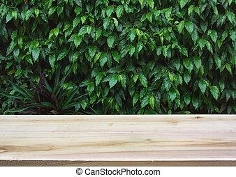 dek, houten, product, materiaal, bladeren, montage., achtergrond., hout, groen tafel, display, lege